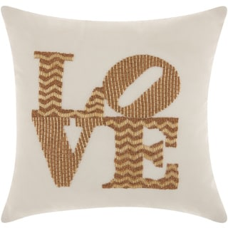 Mina Victory Luminescence Full Beaded Love Gold Throw Pillow by Nourison (12 x 12-inch)