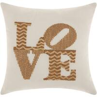 Mina Victory Luminescence Full Beaded Love Gold Throw Pillow by Nourison (12-Inch X 12-Inch)