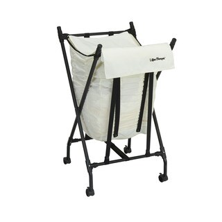 Household Essentials LH1013 White Fabric, Metal, and Plastic Spring-loaded Lifter Hamper