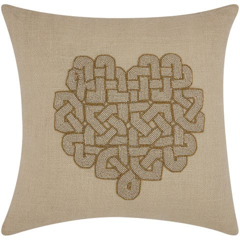 Mina Victory Luminescence Woven Heart Silver/Copper Throw Pillow by Nourison (18-Inch X 18-Inch)