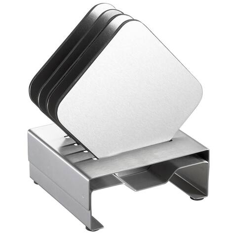 Visol Pascal Stainless Steel Square Coaster Set with Holder