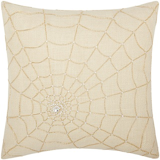 Mina Victory Luminescence Beaded Spider Web Gold Throw Pillow by Nourison (18 x 18-inch)