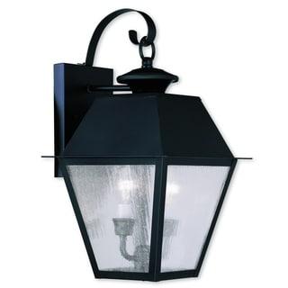 Livex Lighting Mansfield Black Brass 2-light Outdoor Wall Lantern