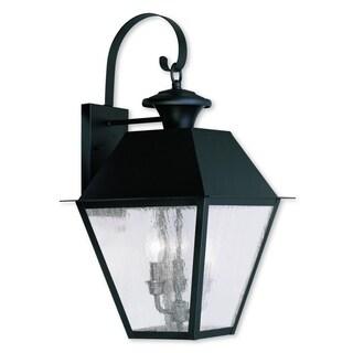 Livex Lighting Mansfield Black Brass 3-light Outdoor Wall Lantern