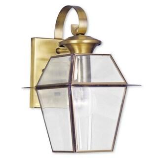 Livex Lighting Westover 1-light Antique Brass Outdoor Wall Lantern