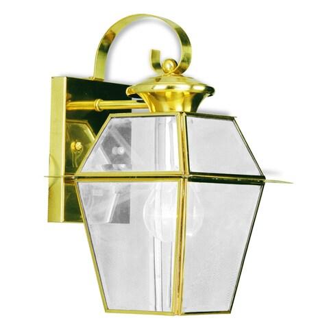 Livex Lighting Westover Polished Gold Brass 1-light Outdoor Wall Lantern