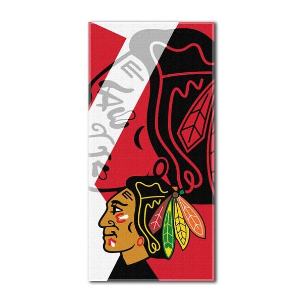NHL 722 Blackhawks Multicolor Cotton Puzzle Beach Towel