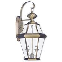 Livex Lighting Georgetown Antique Brass 2-light Outdoor Wall Lantern