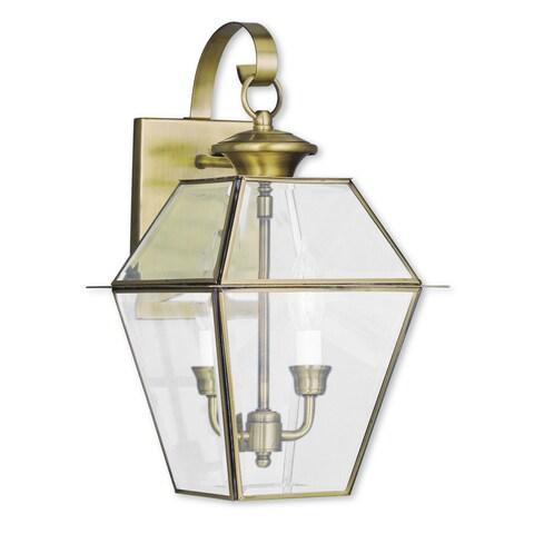 Livex Lighting Westover Antique Brass 2-light Outdoor Wall Lantern
