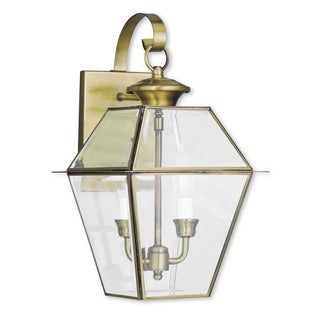 Livex Lighting Westover Antique Brass 2-light Outdoor Wall Lantern