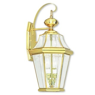 Livex Lighting Georgetown Polished Gold Brass 2-light Outdoor Wall Lantern