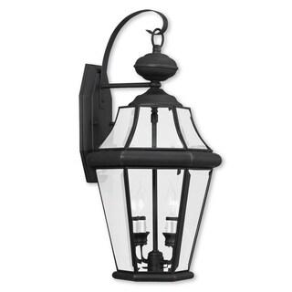 Livex Lighting Georgetown Brown Brass 2-light Outdoor Wall Lantern