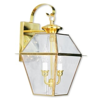 Livex Lighting Westover Gold Brass 2-light Outdoor Wall Lantern