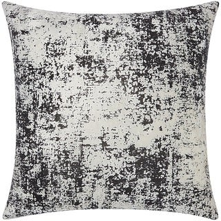 Mina Victory Luminescence Distressed Metallic Black Throw Pillow by Nourison (20 x 20-inch)