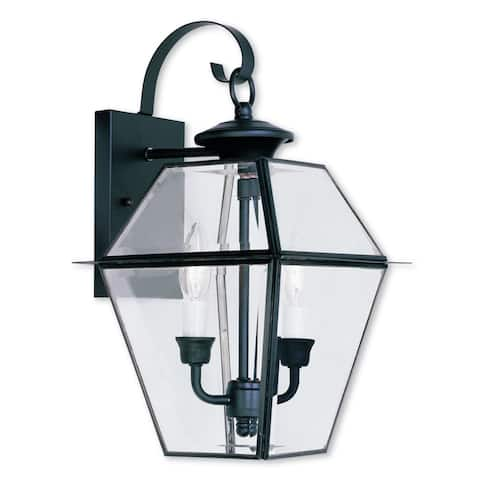 Livex Lighting Westover Black Brass 2-light Outdoor Wall Lantern