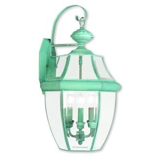 Livex Lighting Monterey Verdigris Brass 3-light Outdoor Wall Lantern