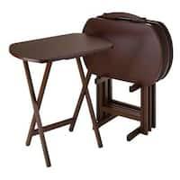 Porch & Den Lawrenceville Downing  Walnut Wood 5-piece Oversized Oblong Indoor Snack Table Set