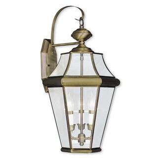 Livex Lighting Georgetown Gold Brass 3-light Outdoor Wall Lantern