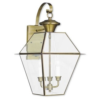 Livex Lighting Westover Antique Brass 3-light Outdoor Wall Lantern