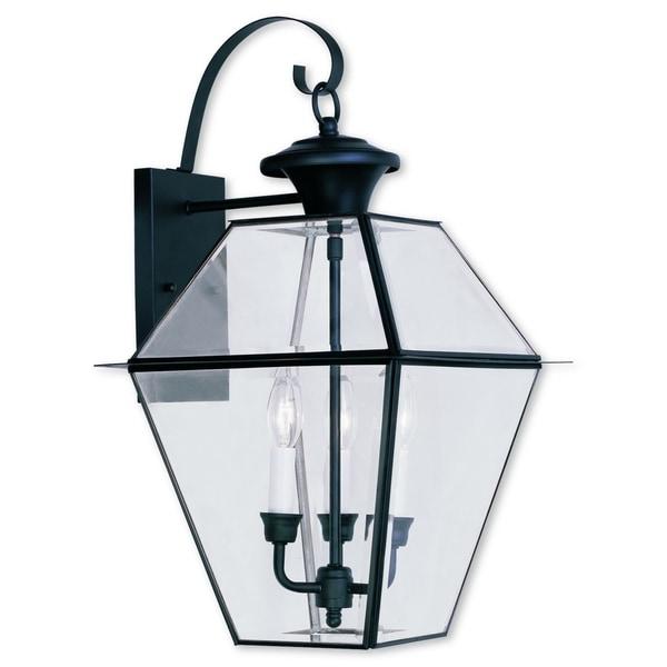 Livex Lighting Westover Black Brass 3-light Outdoor Wall Lantern  sc 1 st  Overstock.com & Shop Livex Lighting Westover Black Brass 3-light Outdoor Wall ...