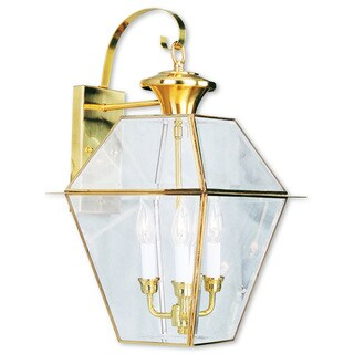 Livex Lighting Westover Gold Brass 3-light Outdoor Wall Lantern