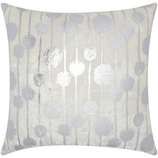 Mina Victory Luminescence Metallic Dandelions Silver Throw Pillow by Nourison (20 x 20-inch)