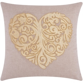 Mina Victory Luminescence Scroll Heart Gold Throw Pillow by Nourison (20 x 20-inch)
