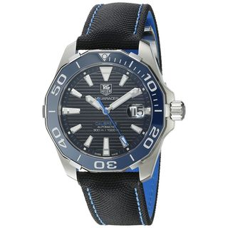 Link to Tag Heuer Men's WAY211B.FC6363 'Aquaracer' Automatic Black Canvas and Leather Watch Similar Items in Men's Watches