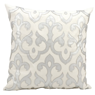 Mina Victory Luminescence Laser Cut Fleur De Lis' Silver Throw Pillow by Nourison (20 x 20-inch)
