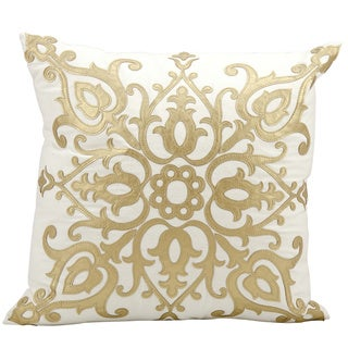 Mina Victory Luminescence Laser Cut Royalty Gold Throw Pillow by Nourison (20 x 20-inch)