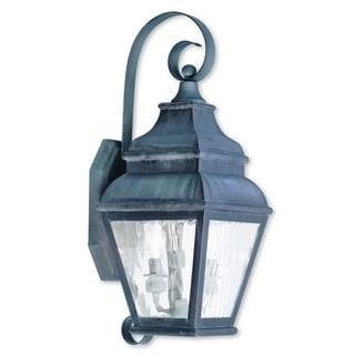 Livex Lighting Exeter Charcoal Brass 2-light Outdoor Wall Lantern