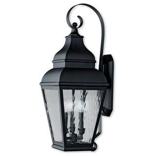 Livex Lighting Exeter Black Brass 3-light Outdoor Wall Lantern