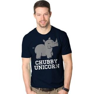 Men's 'Chubby Unicorn' Navy Blue Cotton Crewneck T-shirt