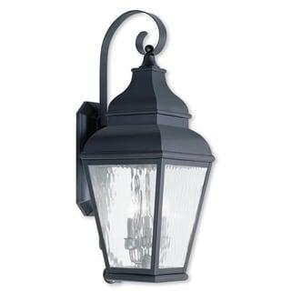 Livex Lighting Exeter Brown Brass Three-light Outdoor Wall Lantern