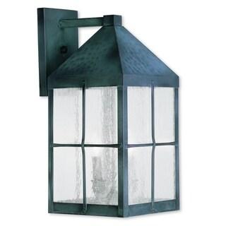 Livex Lighting Brighton Hammered Charcoal Brass 3-light Outdoor Wall Lantern