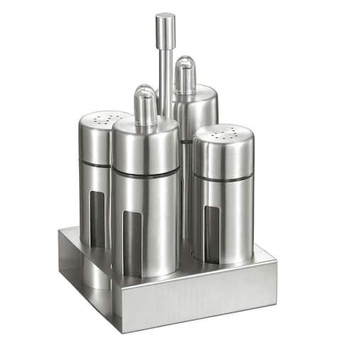 Visol Foxdale Stainless Steel Salt, Pepper, Oil and Vinegar Bottles with Stand