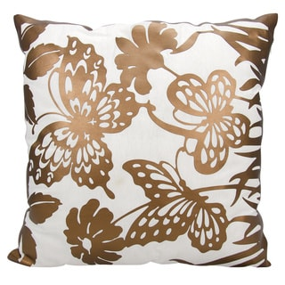Mina Victory Luminescence Butterfly Garden Copper Throw Pillow by Nourison (20-Inch X 20-Inch)