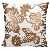 Mina Victory Luminescence Butterfly Garden Copper Throw Pillow by Nourison (20 x 20-inch)