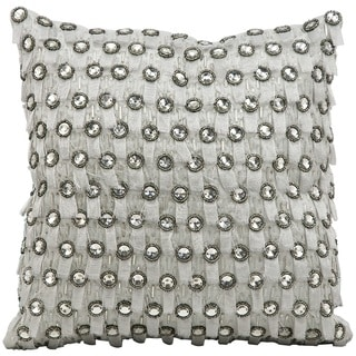 Mina Victory Luminescence Rain & Snow Silver Throw Pillow by Nourison (12 x 12-inch)