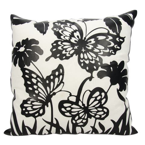 """Mina Victory Luminescence Butterfly Garden Ivory Black Throw Pillow by Nourison 20"""" x 20"""""""