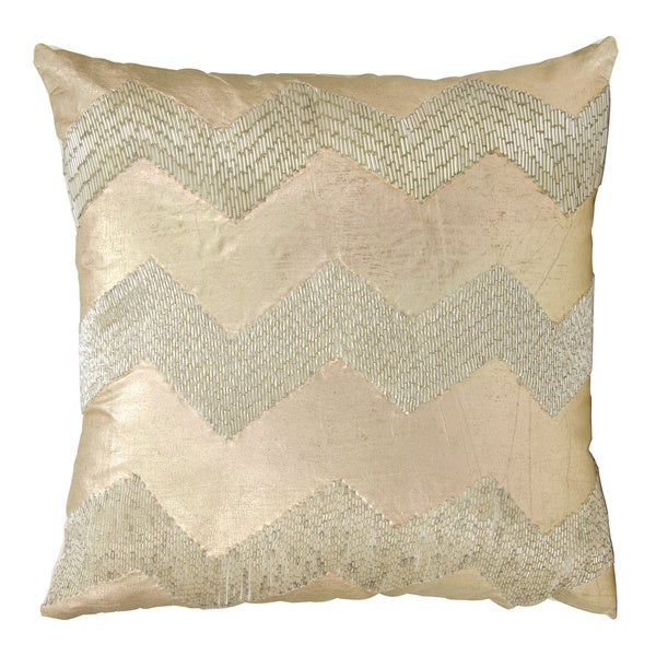 Mina Victory Luminescence Wide Cheveron Light Gold Throw Pillow by Nourison (16-Inch X 16-Inch)