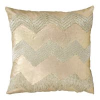 Mina Victory Luminescence Wide Cheveron Light Gold Throw Pillow by Nourison (16 x 16-inch)