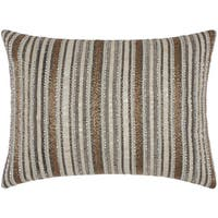 Mina Victory Luminescence Beaded Stripes Ivory/Gold Throw Pillow by Nourison (12 x 16-inch)