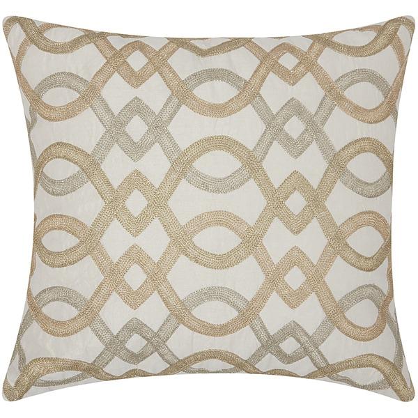 Mina Victory Luminescence Geometric Lattice Gold Throw Pillow by Nourison (18-Inch X 18-Inch)