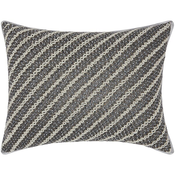 Mina Victory Luminescence Diagonal Chevron Pewter Throw Pillow by Nourison (12 x 16-inch)