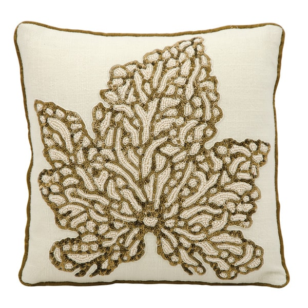 Throw Pillows 12 X 12 : Mina Victory Luminescence Beaded Maple Leaf Ivory Throw Pillow by Nourison (12 x 12-inch) - Free ...