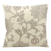 Mina Victory Luminescence Flowers Ivory Throw Pillow by Nourison (18-Inch X 18-Inch)