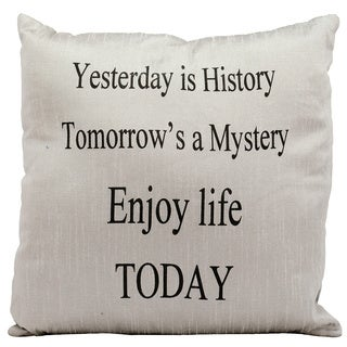 Mina Victory Lifestyle Yesterday Is History Silver Throw Pillow by Nourison (18 x 18-inch)