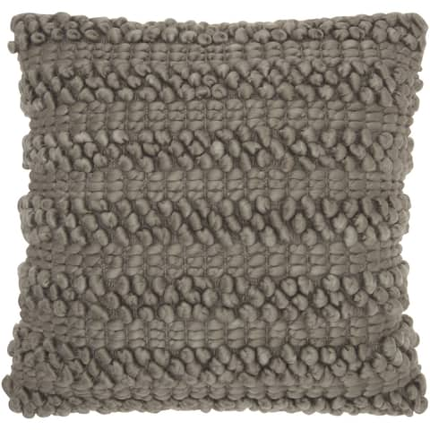 Mina Victory Lifestyle Woven Stripes Silver/Grey Throw Pillow (20-Inch X 20-Inch)