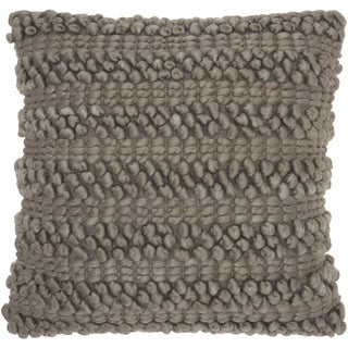 Mina Victory Lifestyle Woven Stripes Silver/Grey Throw Pillow by Nourison (20-Inch X 20-Inch)